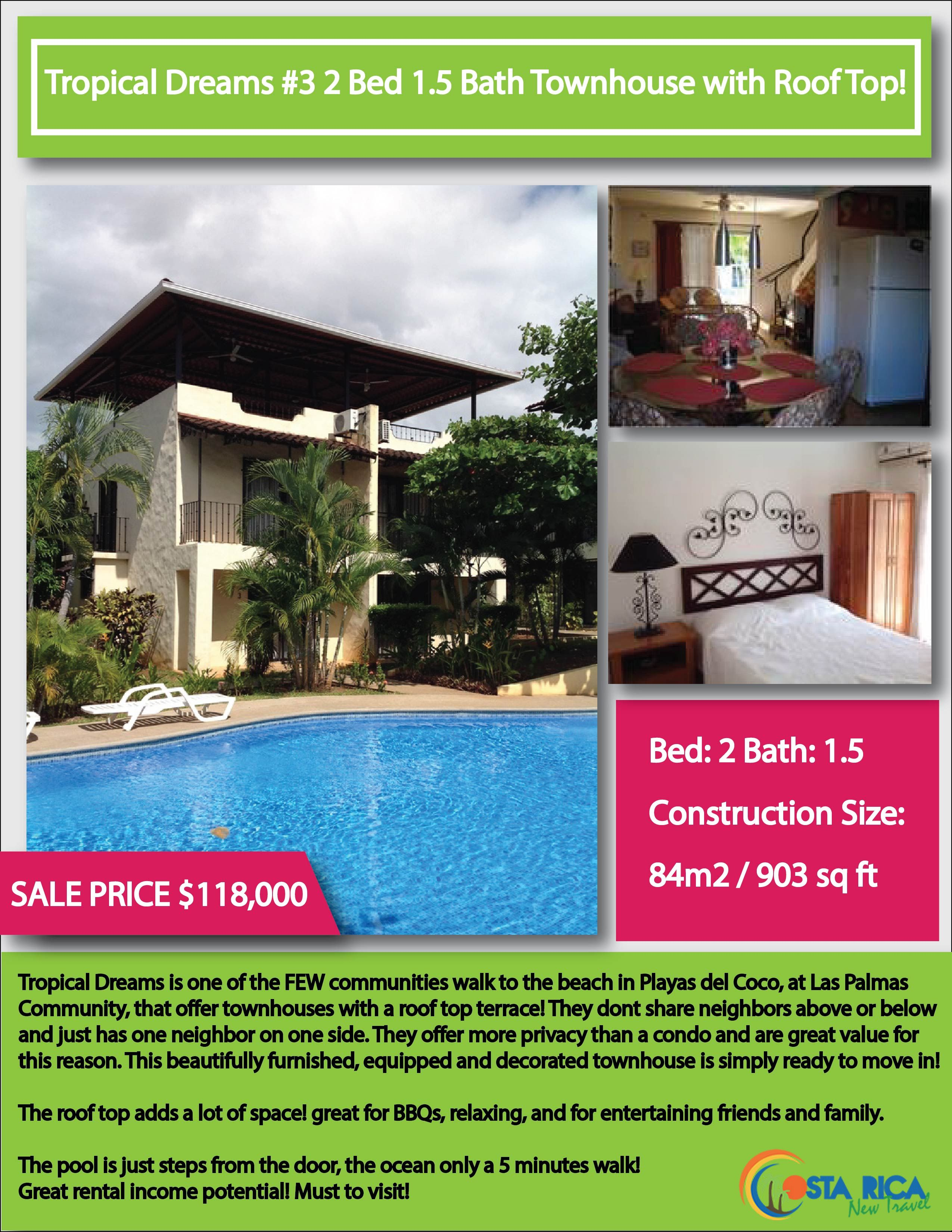 Tropical Dreams #3 - 2 Bed 1.5 Bath with Roof Terrace $118,000 (CRNT)